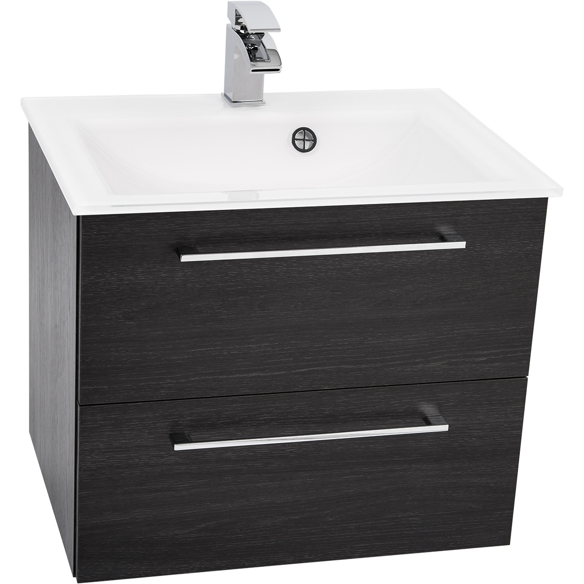 Venice White 600 Napoli Black Oak 2 Drawer Wall Mounted Unit & Basin