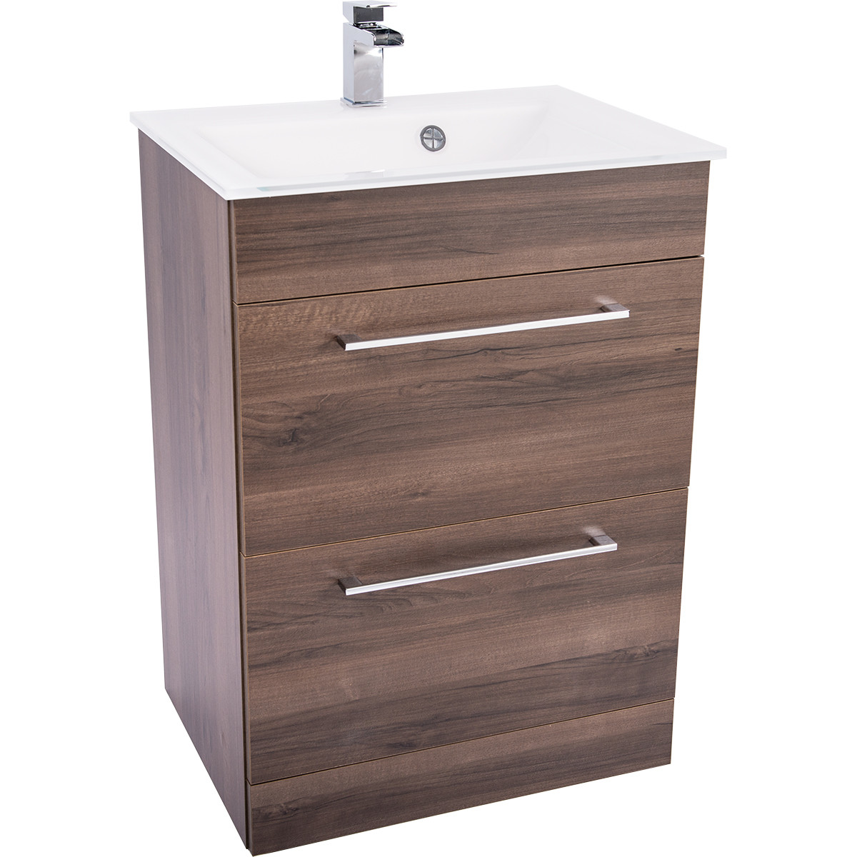 Venice White 600 Napoli Walnut 2 Drawer Unit & Basin