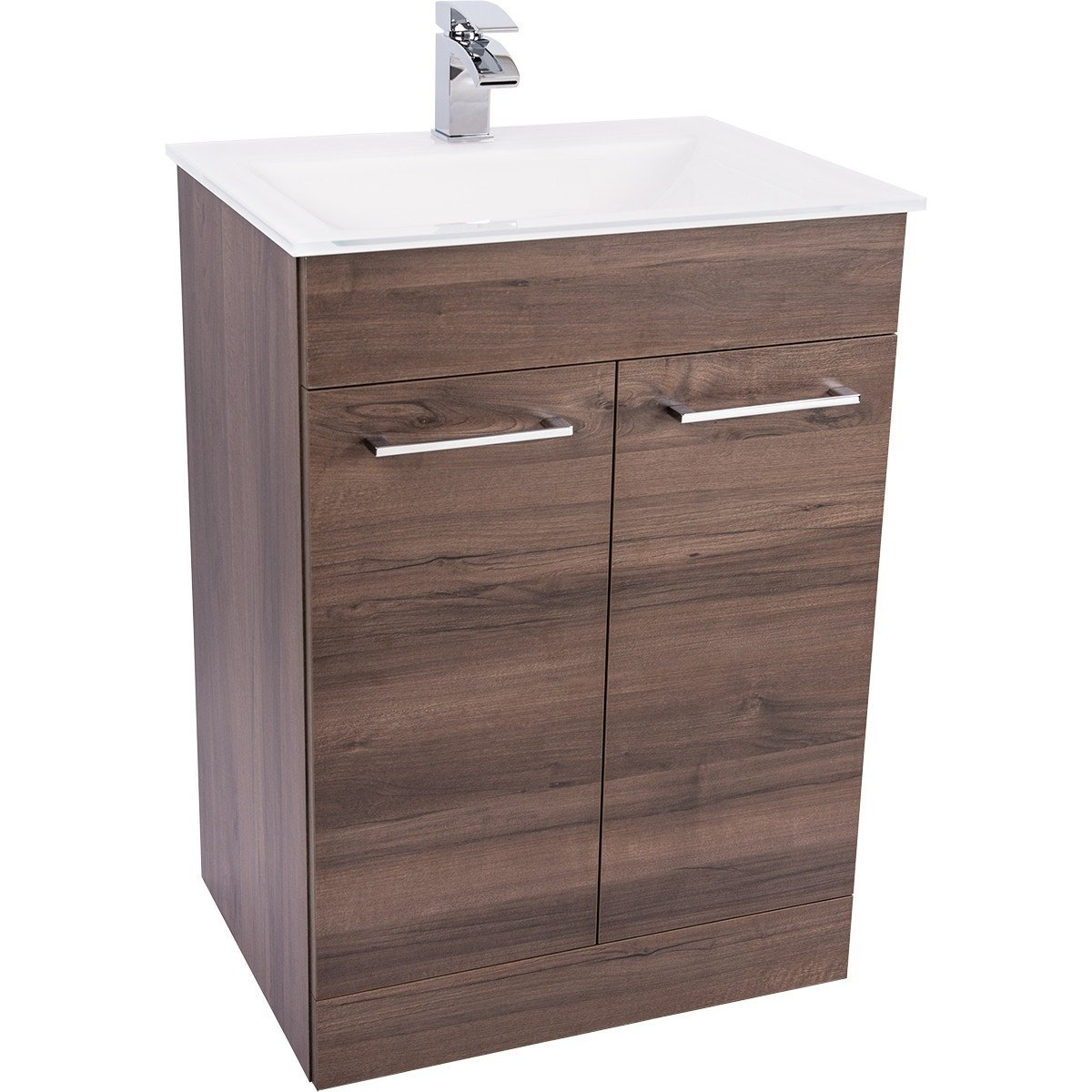 Venice White 600 Napoli Walnut 2 Door Unit & Basin