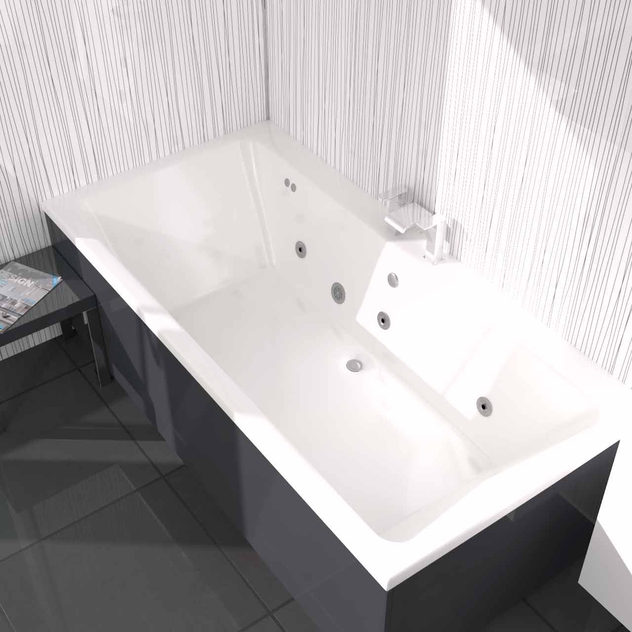 Verna Centre Tap 6 Jet Chrome Flat Jet Whirlpool Bath 1800x900mm