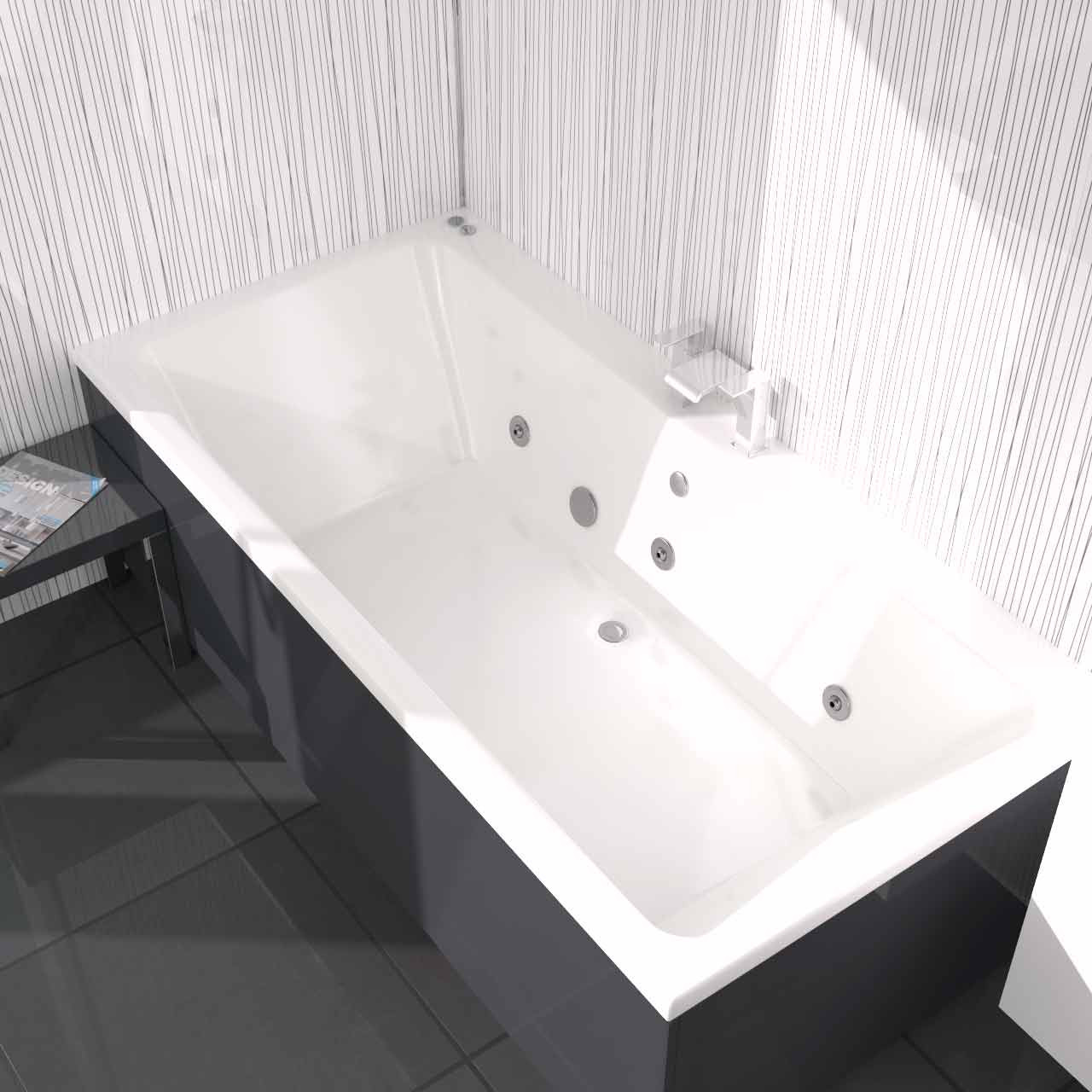 Verna Centre Tap  6 Jet Chrome V-Tec Whirlpool Bath 1800x1100mm