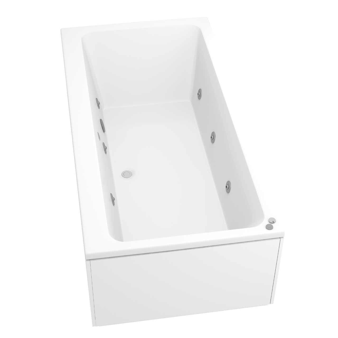 Verna Centre Tap 6 Jet Chrome V-Tec Whirlpool Bath 1800x900mm