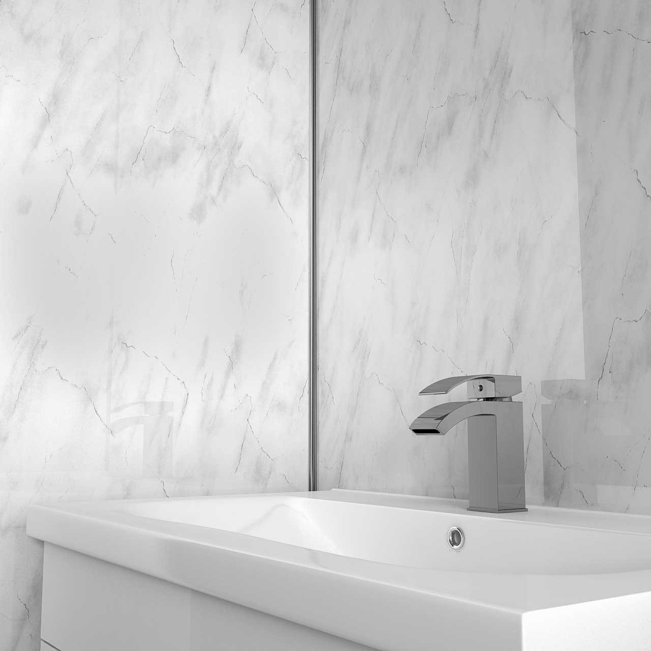 White Marble 2400 x 1000 Wall Panel Basin View