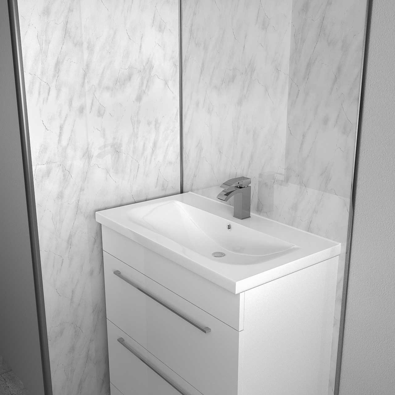 White Marble 2400 x 1000 Wall Panel Vanity View