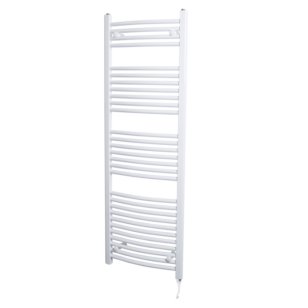 Marco 1500 x 500 Curved White Electric Towel Rail