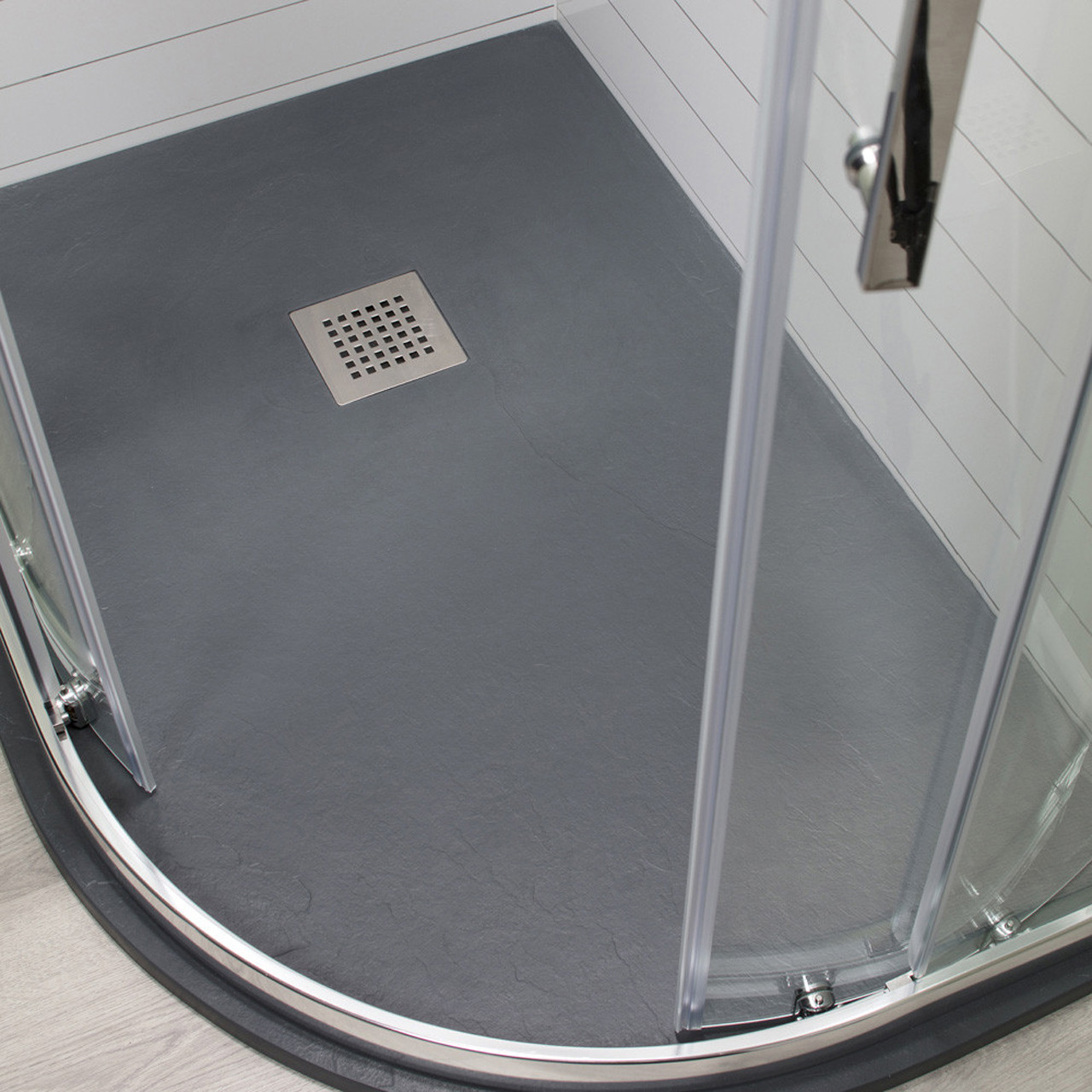 Wholestone Slate Right Hand 1200mm x 900mm Anthracite Offset Quadrant Shower Tray
