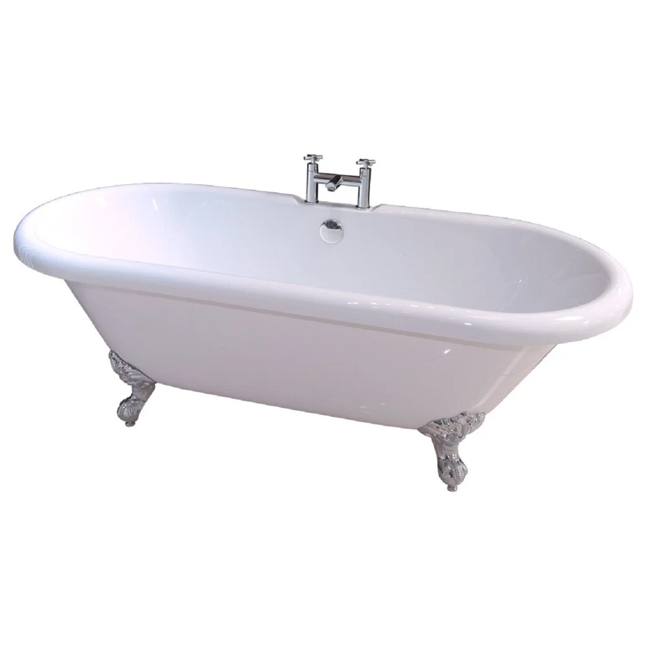 Windsor 1695mm x 755mm Double Ended Freestanding Roll Top Bath with Chrome Ball & Claw Feet