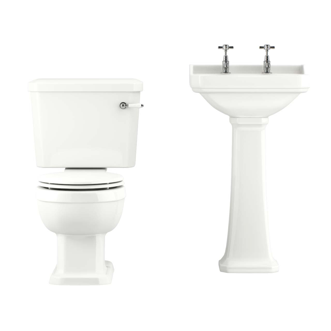 Windsor 500mm Full Pedestal Basin & Toilet Suite