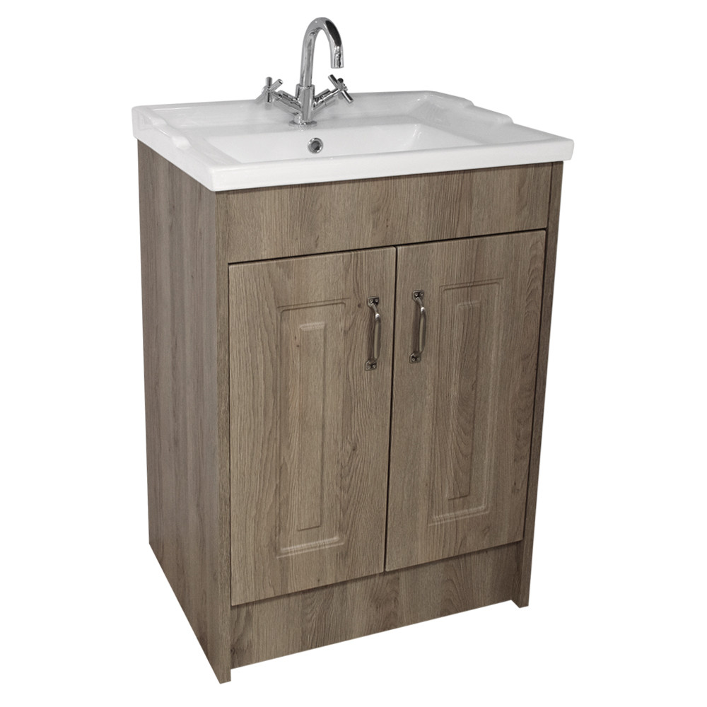Windsor Traditional Oak 600 2 Door Unit & Basin