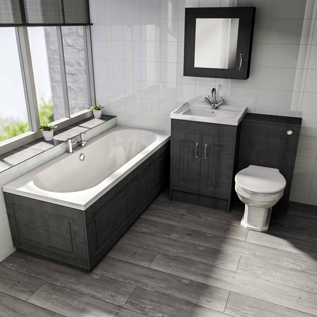 Windsor Traditional Dark Grey 1700mm Front Bath Panel with Plinth
