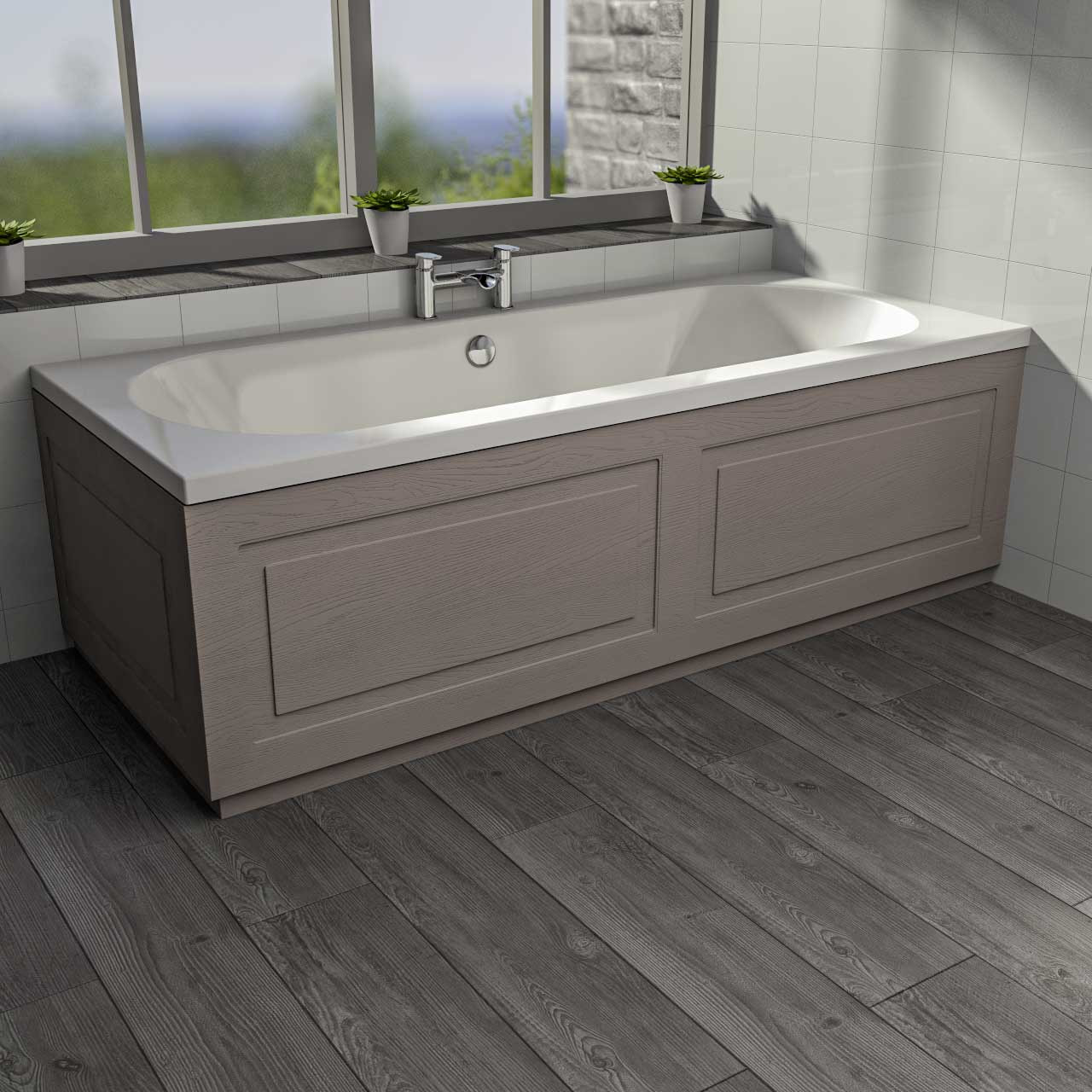 Windsor Traditional Stone Grey 1800mm Front Bath Panel with Plinth