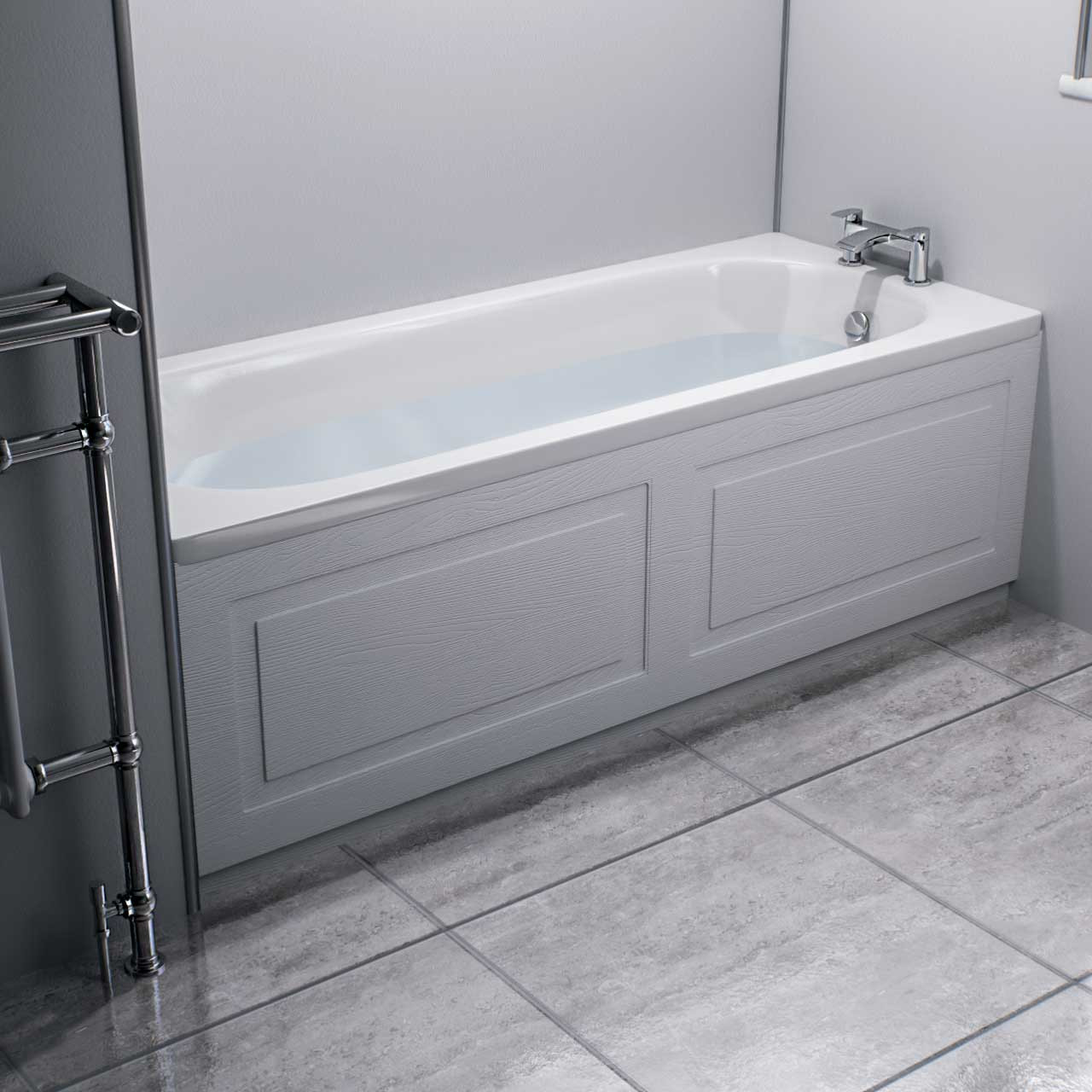 Windsor Traditional White 1700mm Front Bath Panel with Plinth