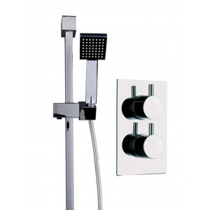 Circo Twin Thermostatic Valve With Thames Slide Rail Kit & Square Shower Elbow