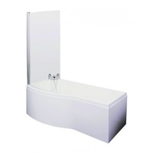 B Shape Shower Bath 1700 mm with Shower Screen and Panel Left Hand