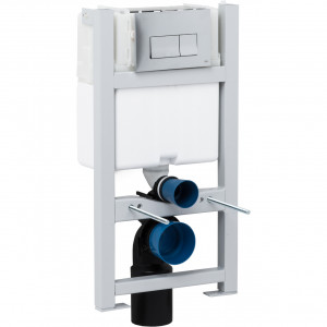Compact Toilet Fixing Frame with Dual Flush Cistern