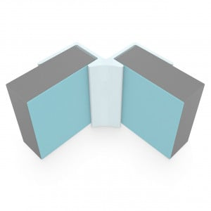 Multipanel Reflect 4mm Wall Panel Internal Corner Trim Type 10 Aqua