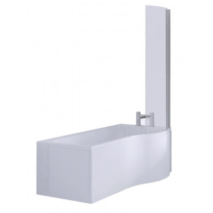 P Shape Shower Bath 1700 mm with Screen and Panel Right Hand