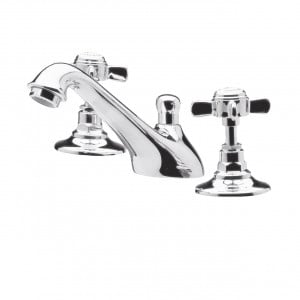 Nuie Beaumont Crosshead 3 Tap Hole Basin Mixer with Pop-up Waste - I307X