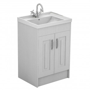Windsor Traditional White 600mm Floor Standing 2 Door Vanity Unit and Basin with 1 Tap Hole