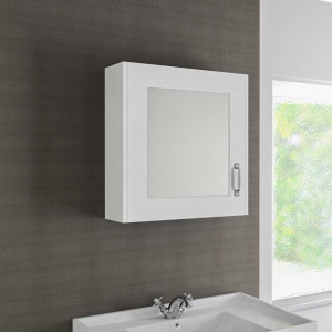 Windsor Traditional White 600mm Single Door Mirror Cabinet