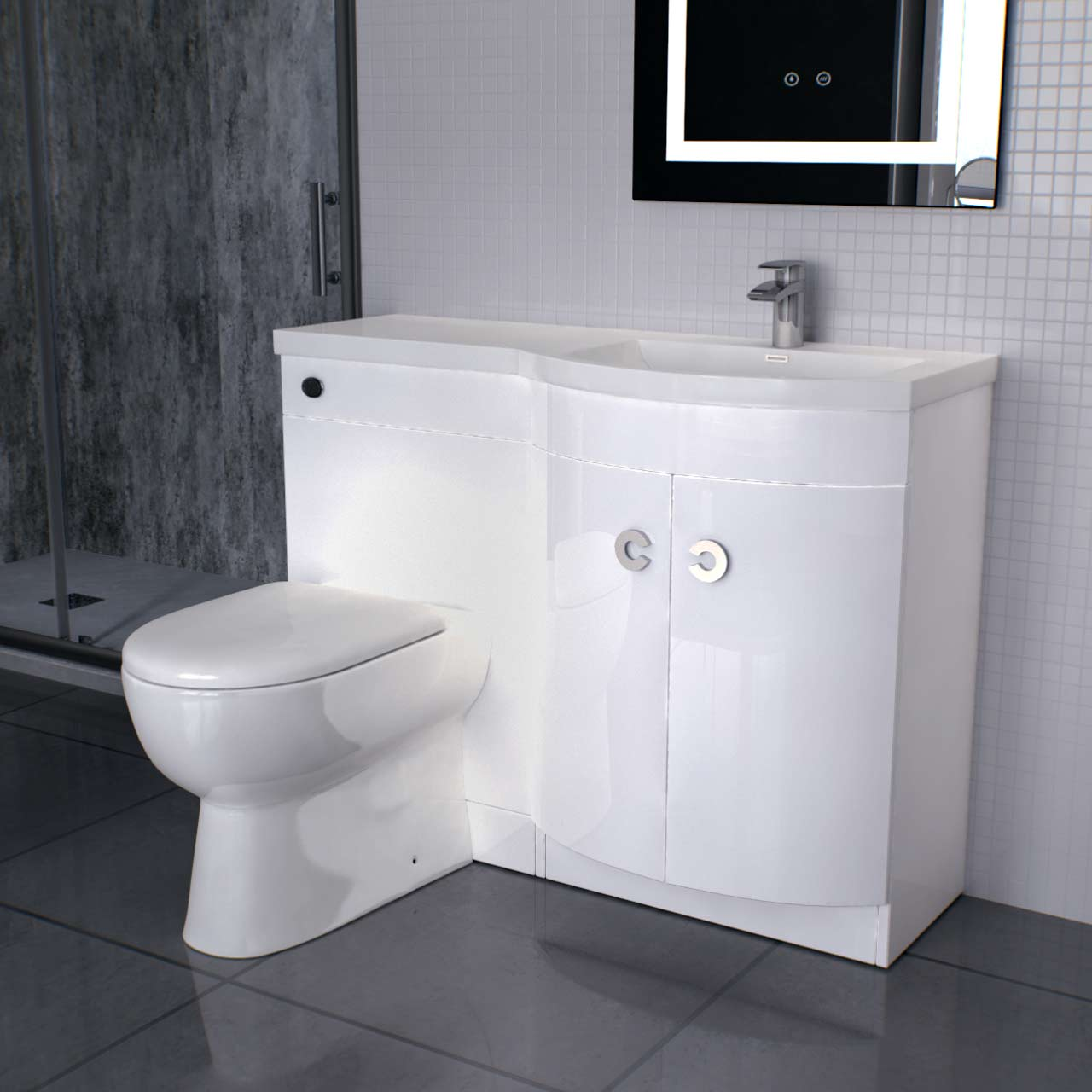 Paris Right Hand Curved 1100mm White Gloss Vanity Unit Toilet Suite