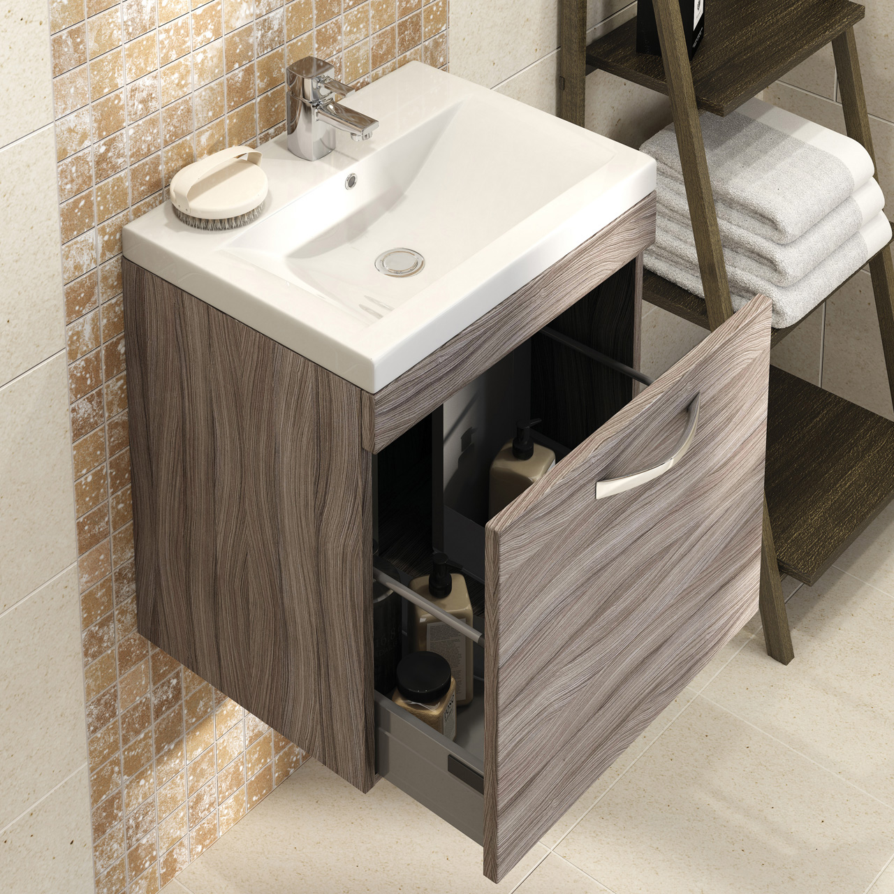 Premier Shipton Driftwood Wall Hung 600mm Cabinet & Basin - DK61DW ...