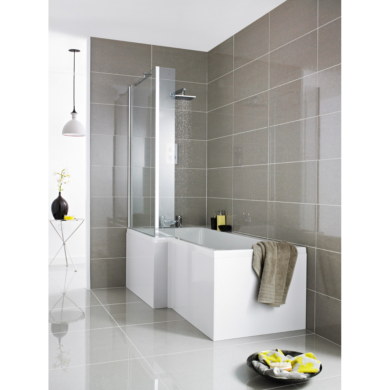 Premier White Square 1700mm Right Hand Shower Bath Package - PBS002