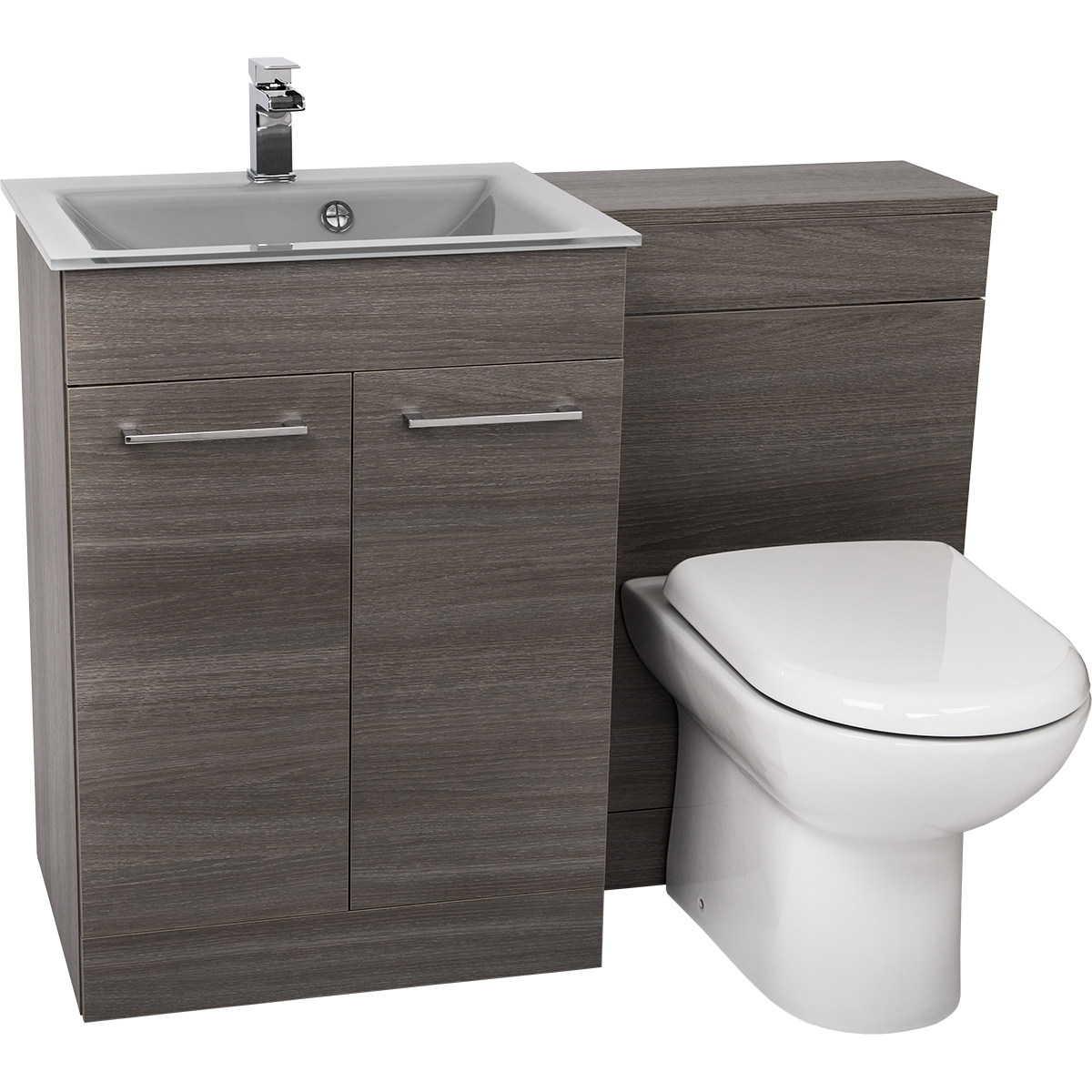 Sink And Toilet Combo Venice Mono Grey Glass 2 Door Napoli Grey Combination Unit From
