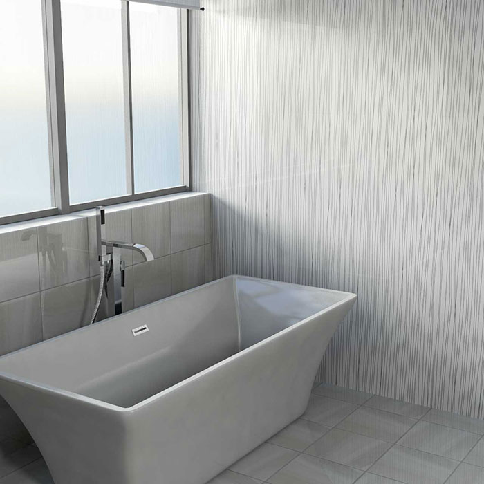 Bathroom with White Strings Wall Panel from Wholesale Domestic Bathrooms