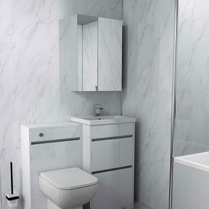 Bathroom with White Marble Wall Panel from Wholesale Domestic Bathrooms