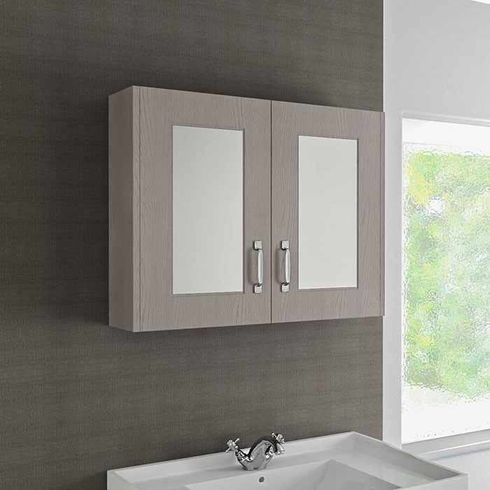 Windsor Traditional Stone Grey 800mm Mirror Cabinet- Wholesale Domestic Bathrooms
