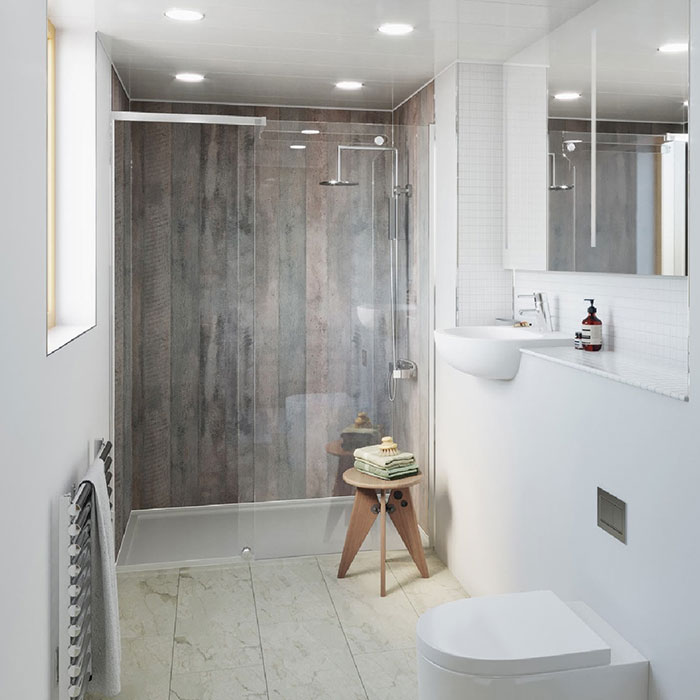 Family bathroom easy clean tips- wall panels in a walk in shower