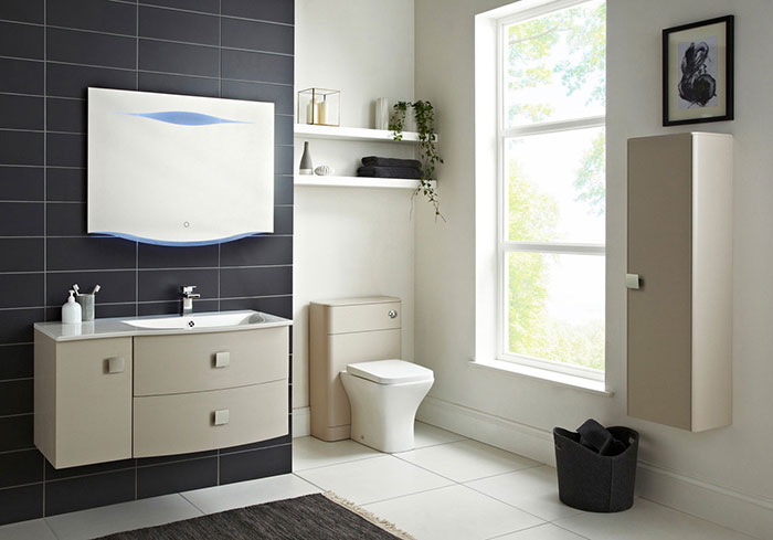 Family bathroom storage furniture- vanity basin unit and tall storage unit