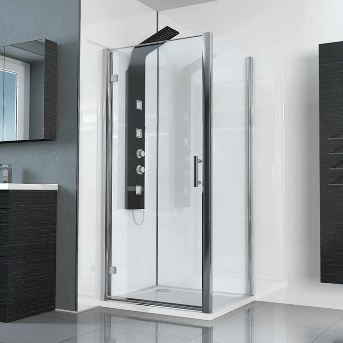 Hinged Door Shower Enclosure with Black Shower panel