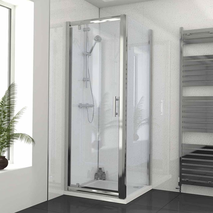 Pivot Door Shower Enclosure with white wall panels