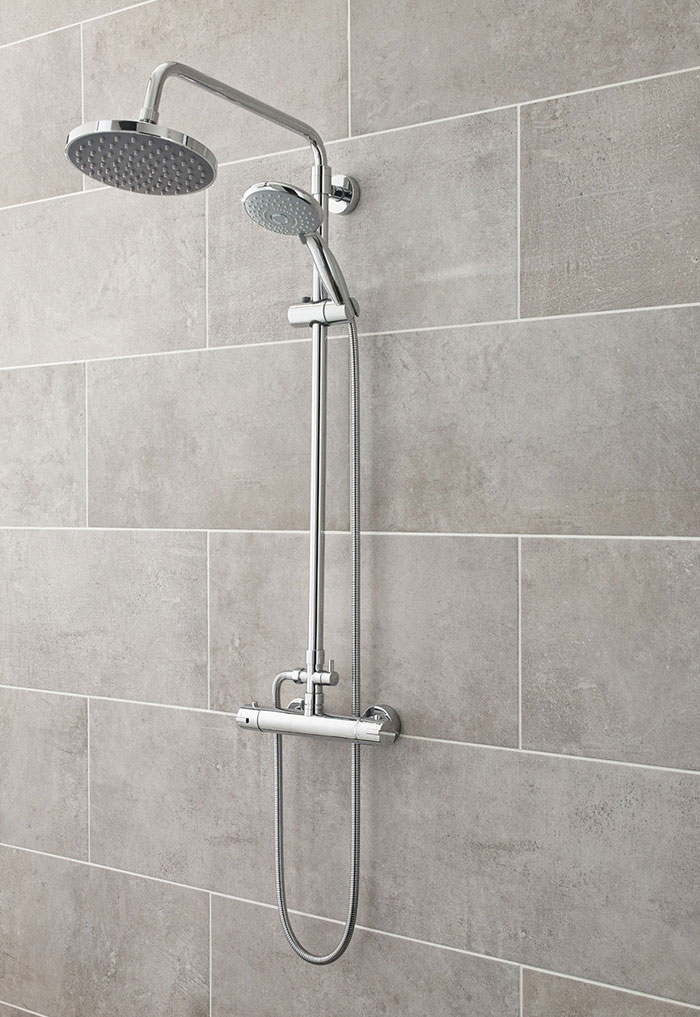 Easy clean bathroom- rigid riser thermostatic shower with handheld shower attachment