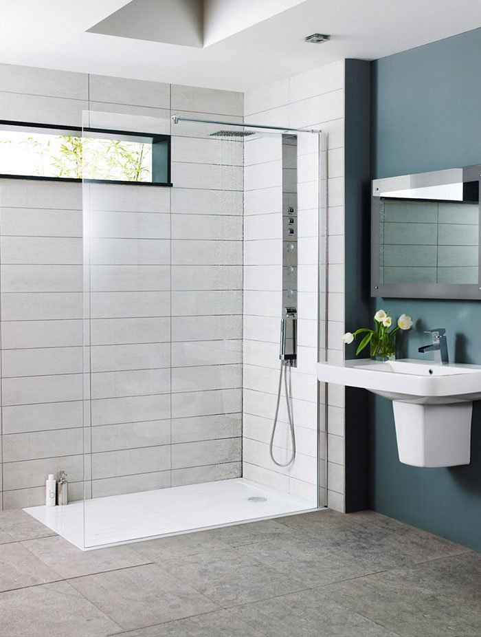 Easy clean bathroom with walk in shower