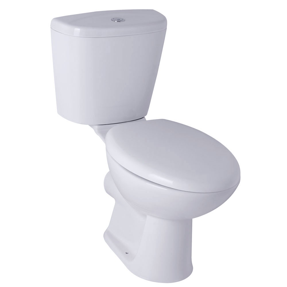 Helix close coupled toilet with soft close seat