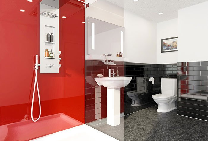 Red Wall Panel Bathroom