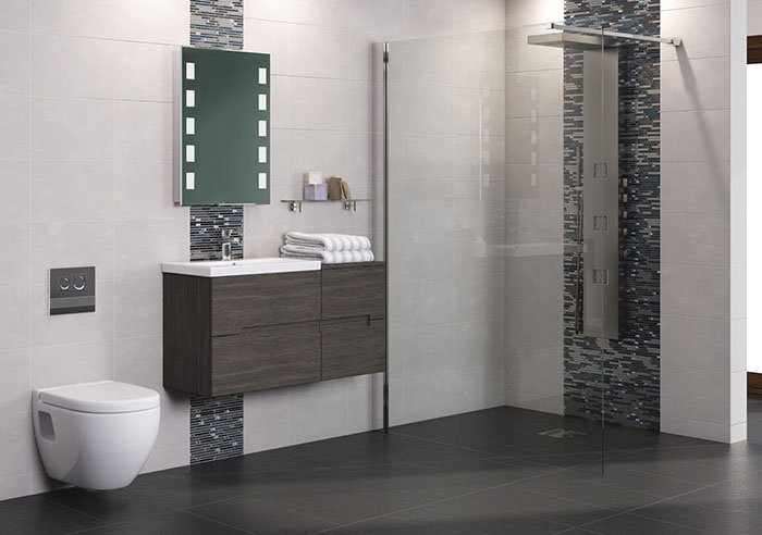 Minimalist modern bathroom with wall hung unit and walk in shower enclosure