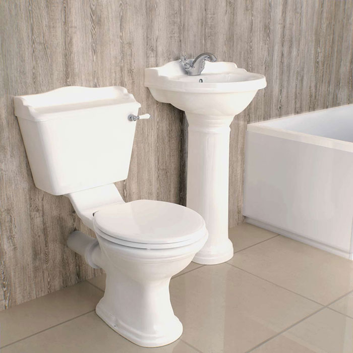 How to create a victorian-inspired bathroom- traditional design close coupled toilet