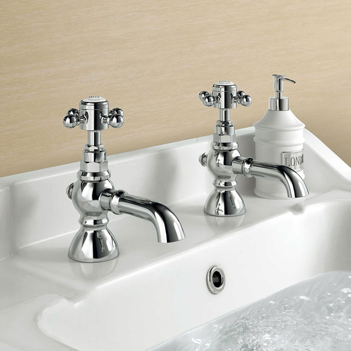 Victorian inspired bathroom- basin with traditional crosshead two tap design