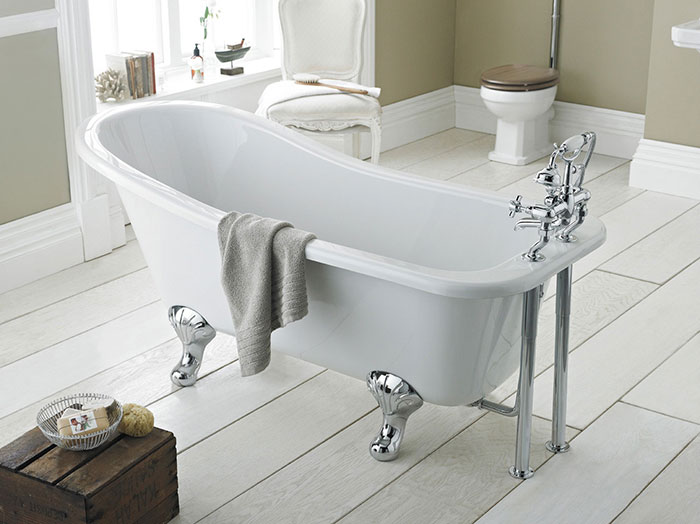 Victorian inspired bathroom- freestanding roll top slipper bath with traditional feet