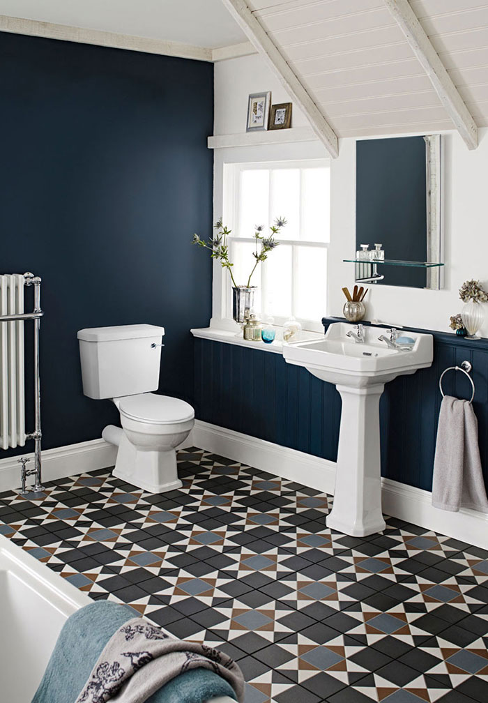 Traditional bathroom with dark blue painted walls