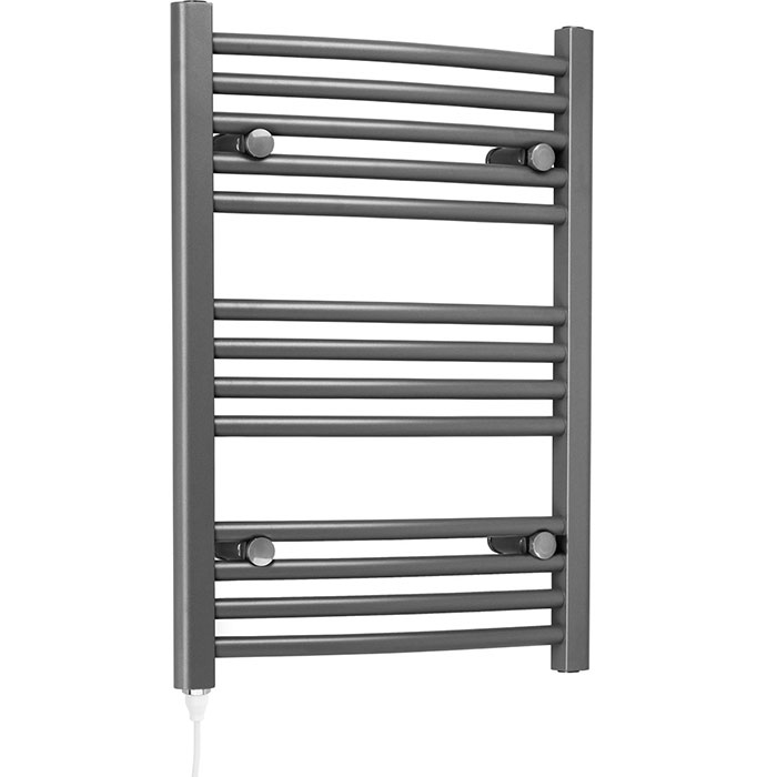 Grey electric heated towel rail