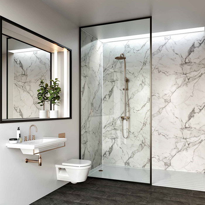 How To Create A Marble Bathroom On A Budget  Marble Wall Panels