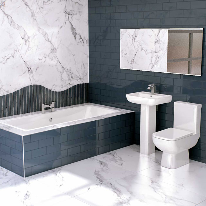 Marble bathroom on a budget- marble effect porcelain tiles