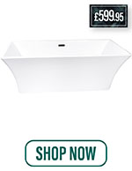 Parma 1690 Double Ended Freestanding Bath Acrylic Modern Square