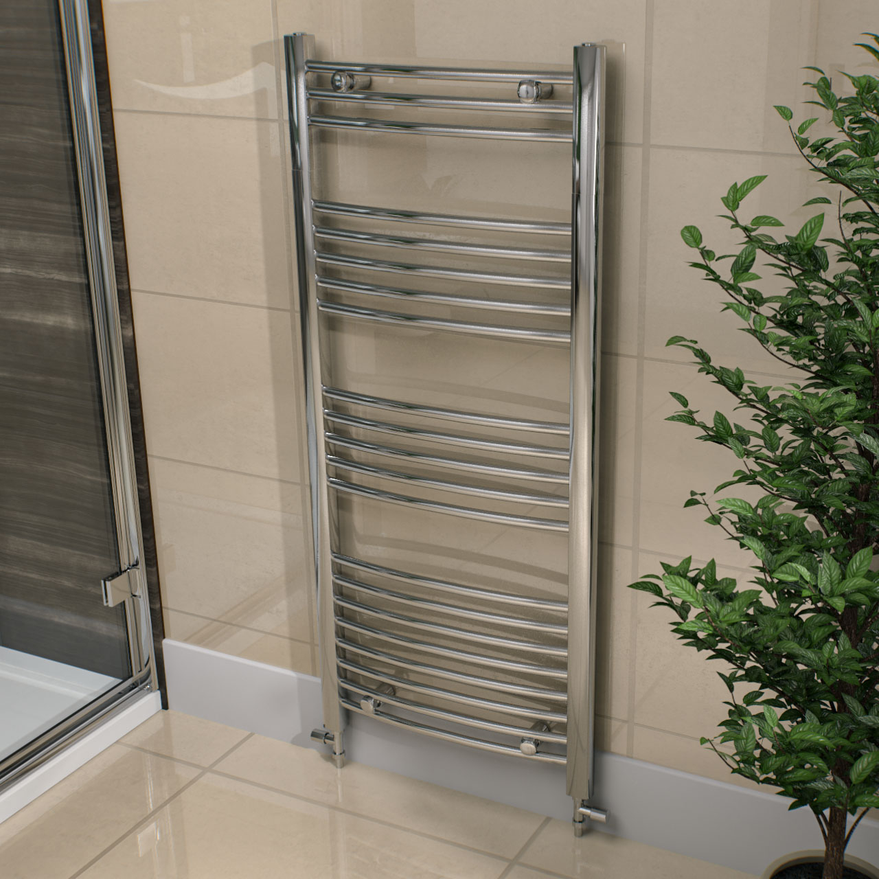 Marco 1150 x 600 Curved Chrome Heated Towel Rail
